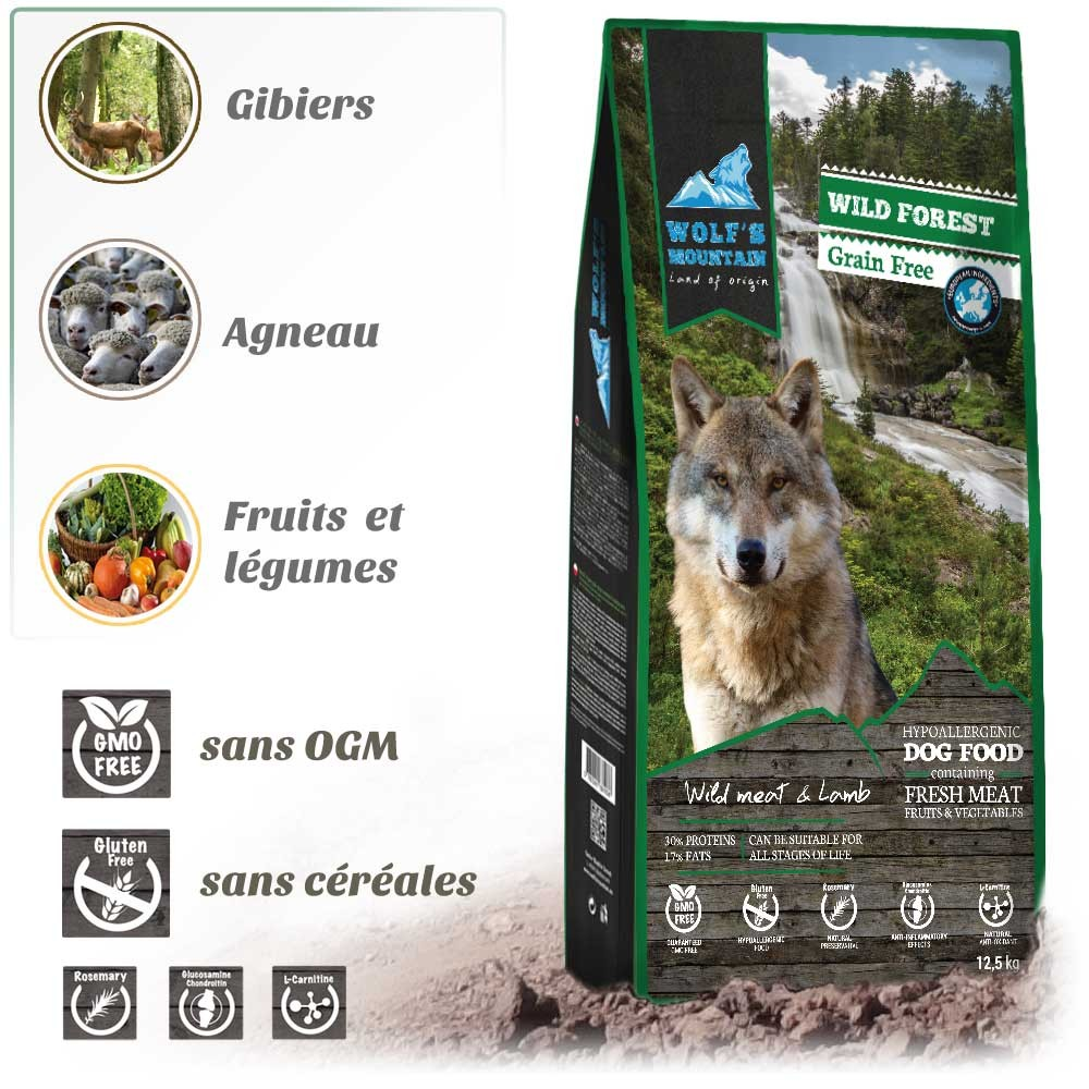 Croquette pour chien WOLF'S MOUNTAIN WILD FOREST