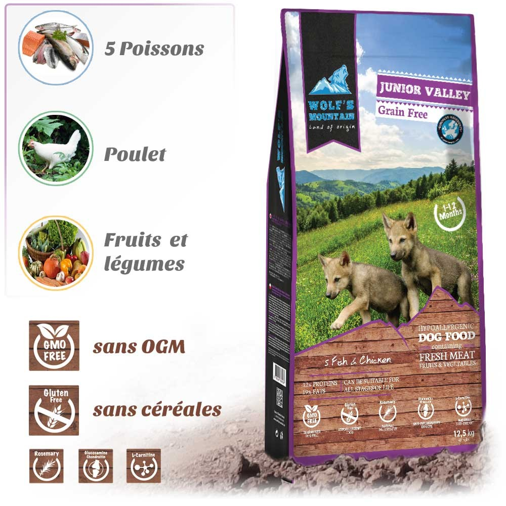 Croquettes pour chiots WOLF'S MOUNTAIN JUNIOR VALLEY
