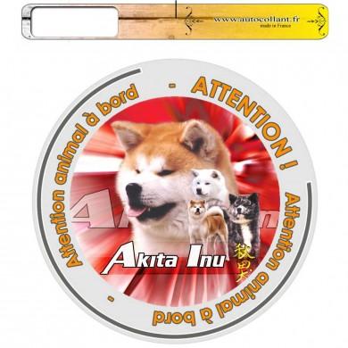 Autocollant Chien à bord de akita inu multicolor