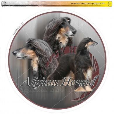Autocollant afghan hound noir et feu circulaire