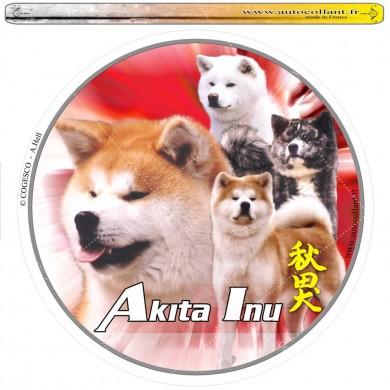 Autocollant akita inu multicolor circulaire