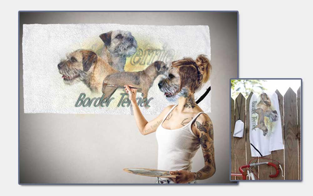 serviette de sport avec un chien border terrier
