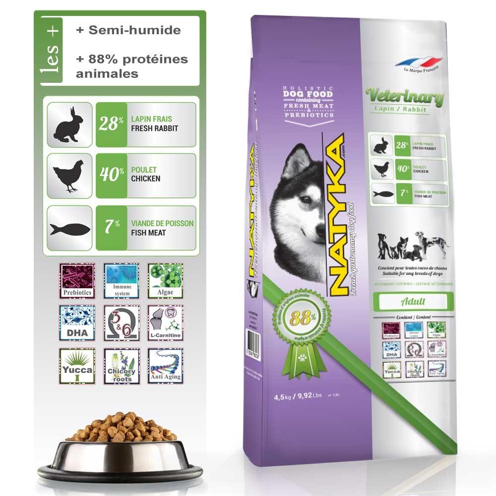 Alimentation vétérinaire pour chien Natyka au lapin