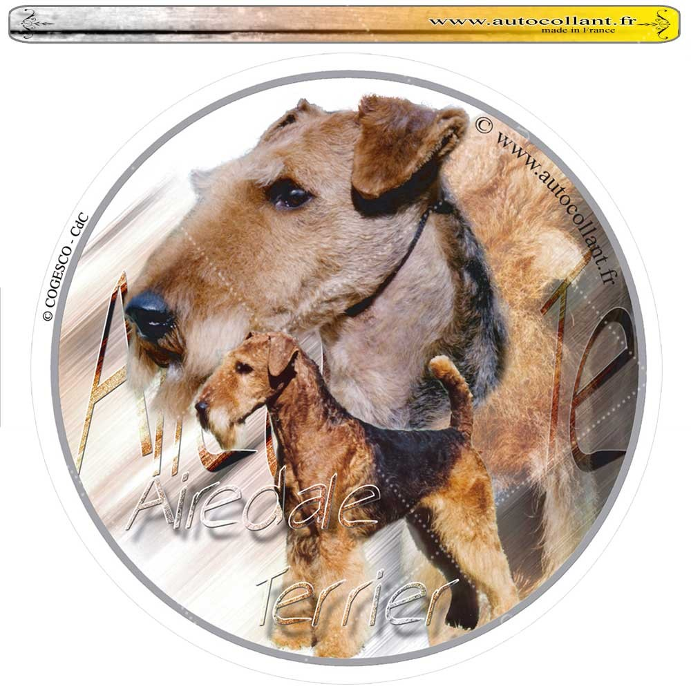 Autocollant airedale terrier circulaire