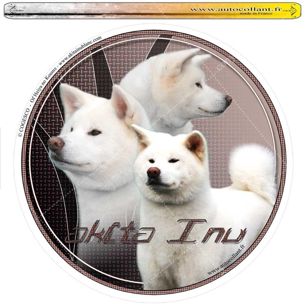 Autocollant akita inu blanc circulaire