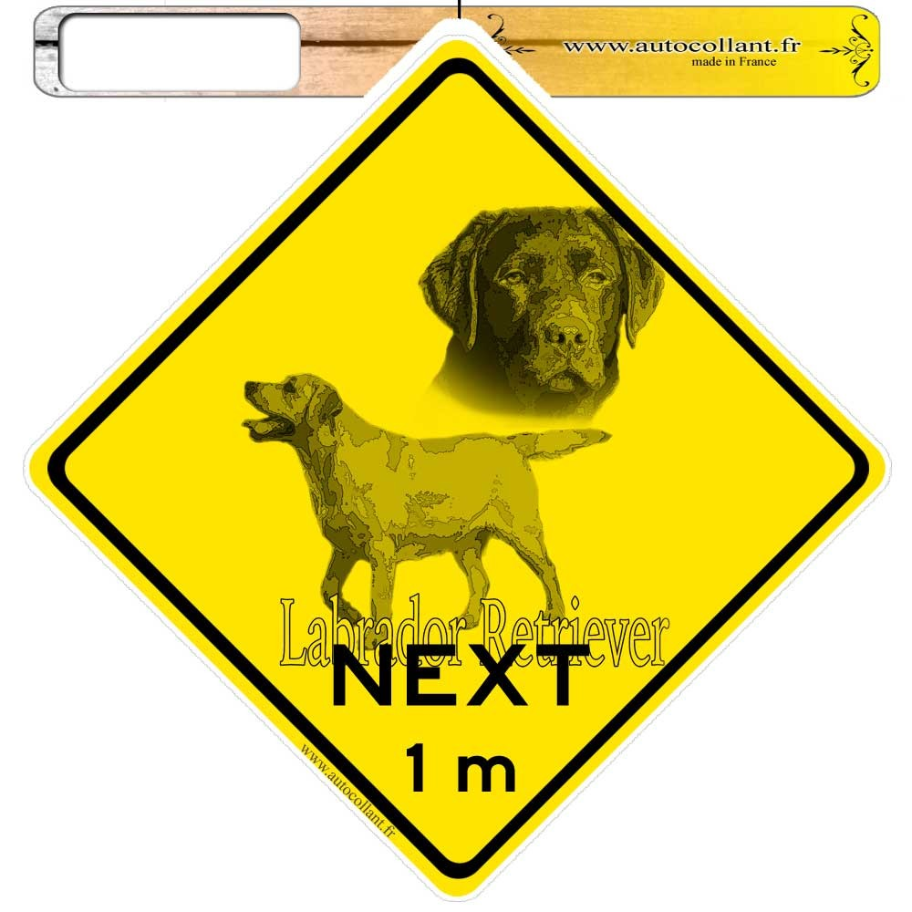 Autocollants roadsign personnalisés -  Labrador Retriever Chocolat