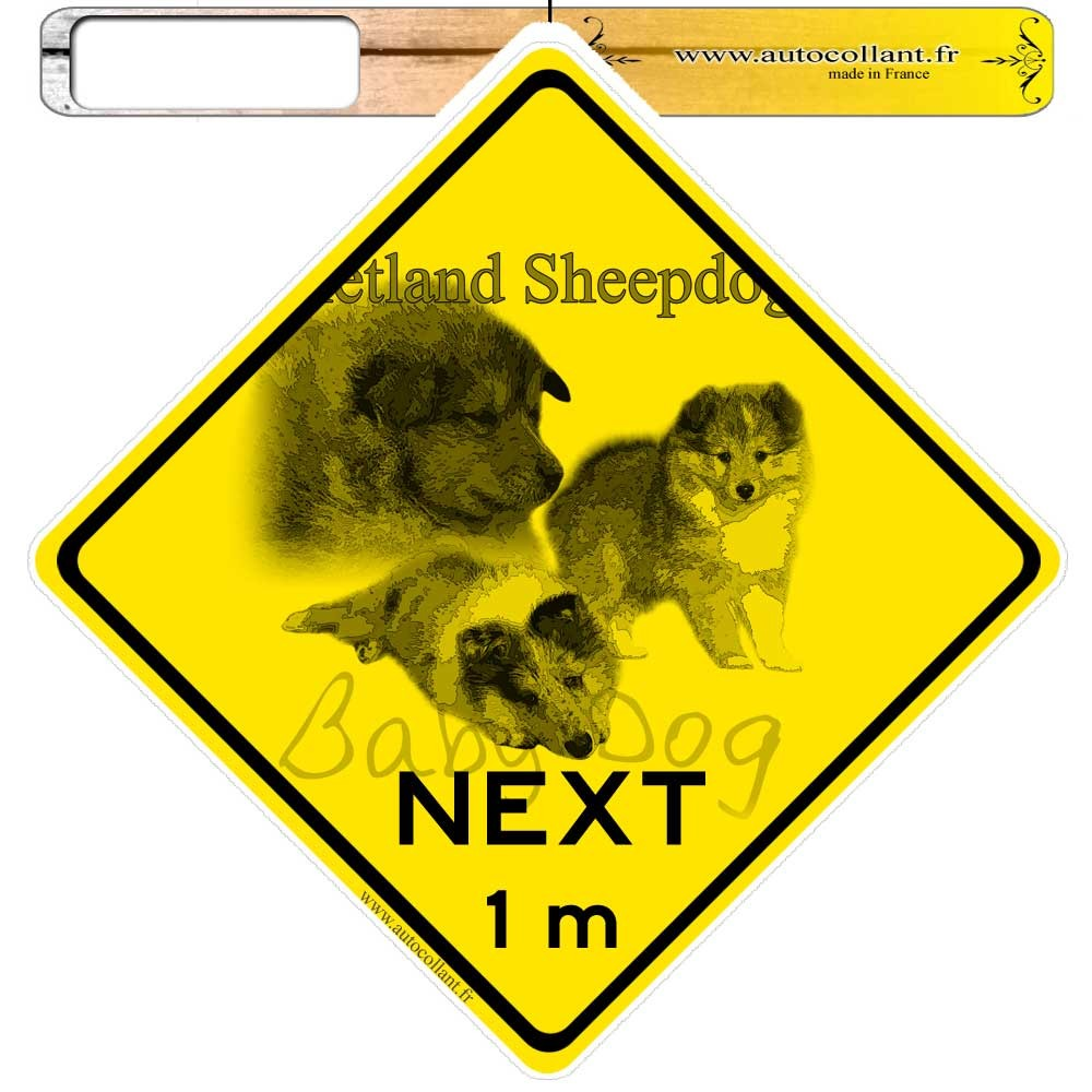 Autocollants roadsign personnalisés -  Shetland Sheepdog Baby Dog