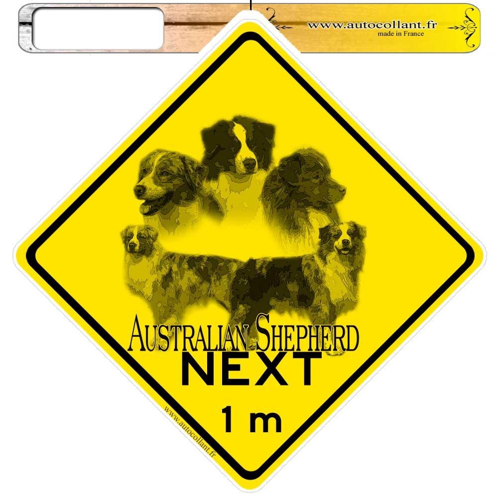 Autocollants roadsign personnalisés - Australian shepherd Rouge