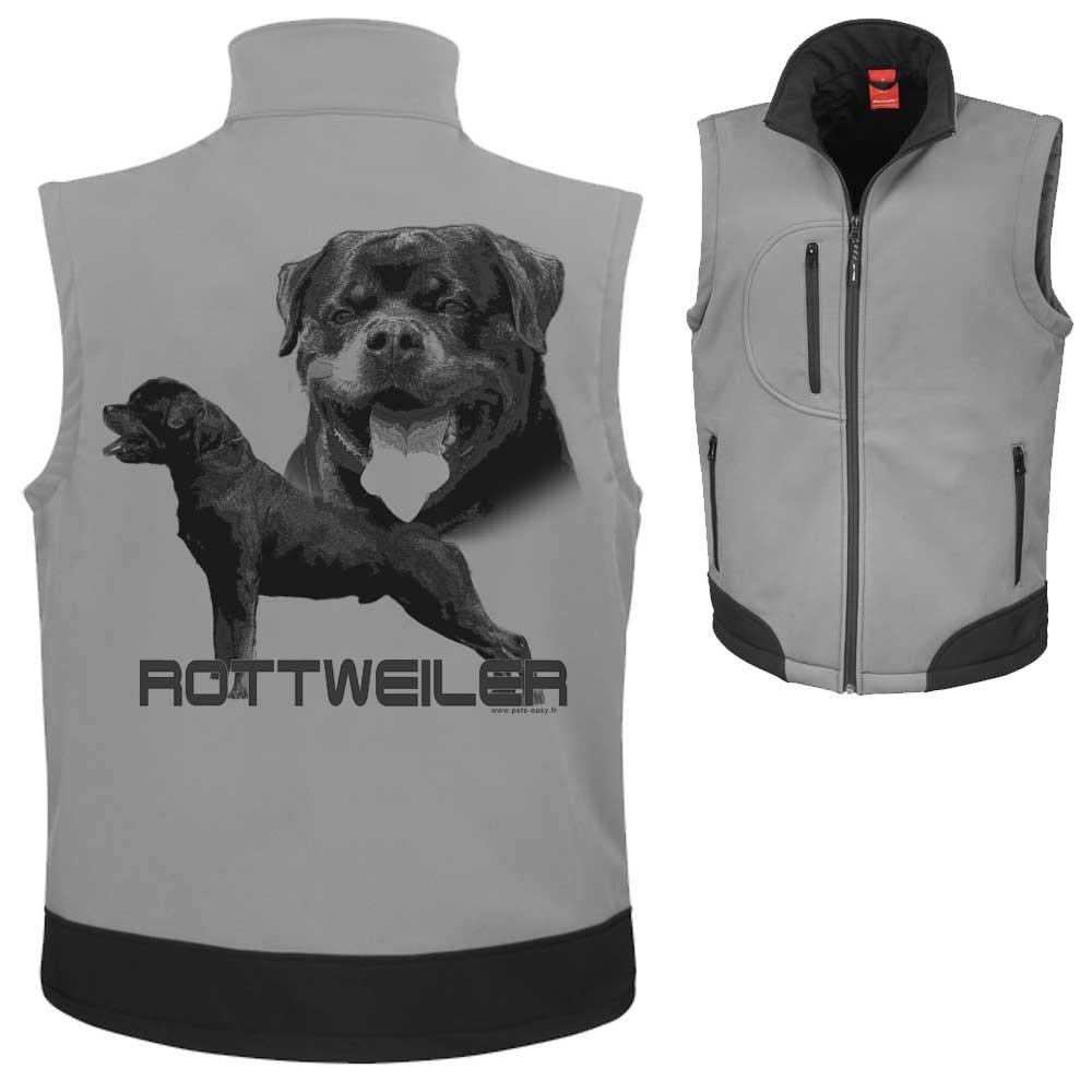 Bodywarmer softshell personnalisé avec un chien rottweiller