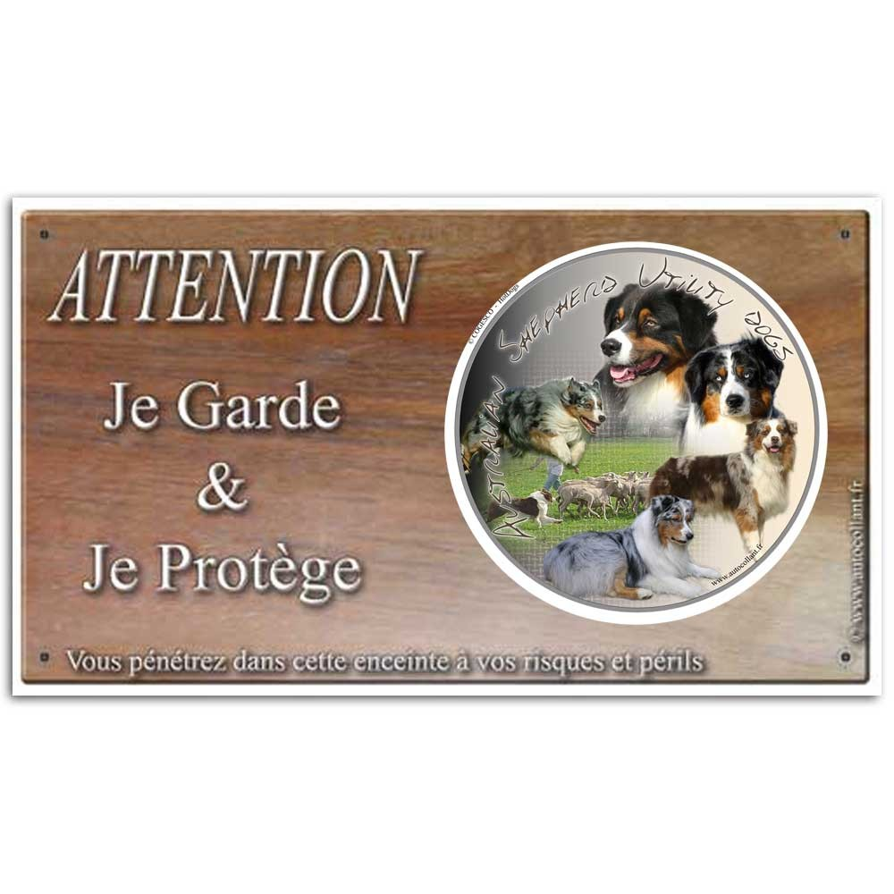 Plaque ou panneau de garde Attention au Chien - australian shepherd multicolor