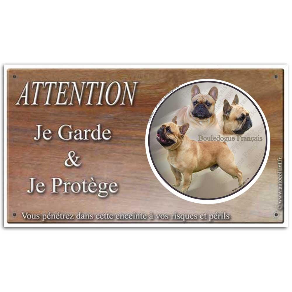 Plaque ou panneau de garde Attention au Chien - bouledogue francais 02