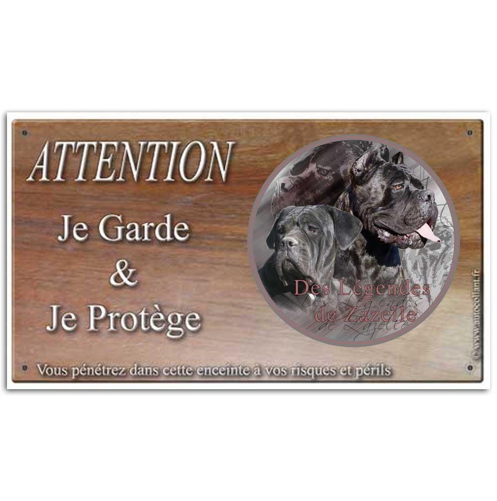 Plaque ou panneau de garde Attention au Chien - cane corso zazelle