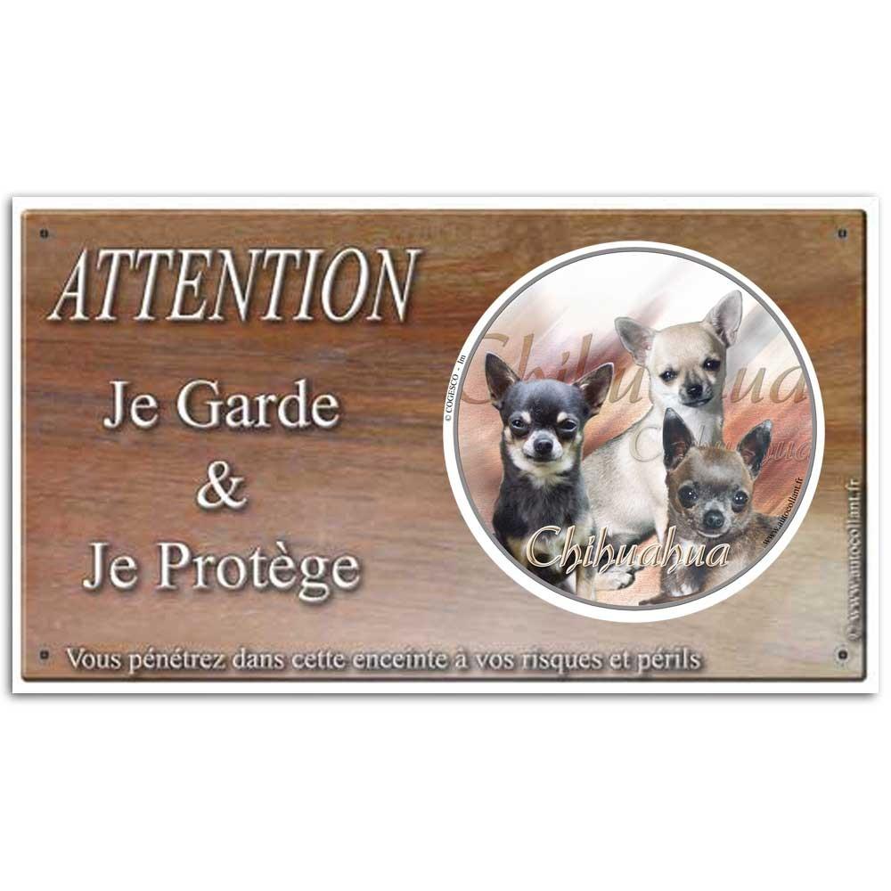 Plaque ou panneau de garde Attention au Chien - chihuahua poil court