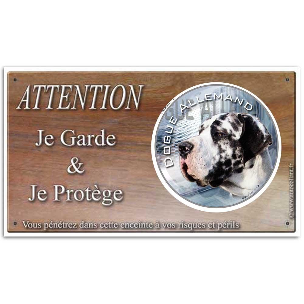 Plaque ou panneau de garde Attention au Chien - dogue allemand arlequin