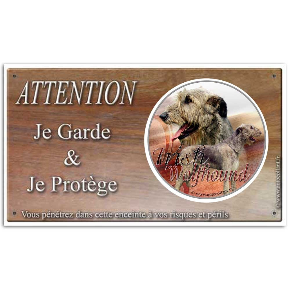 Plaque ou panneau de garde Attention au Chien - irish wolfhound