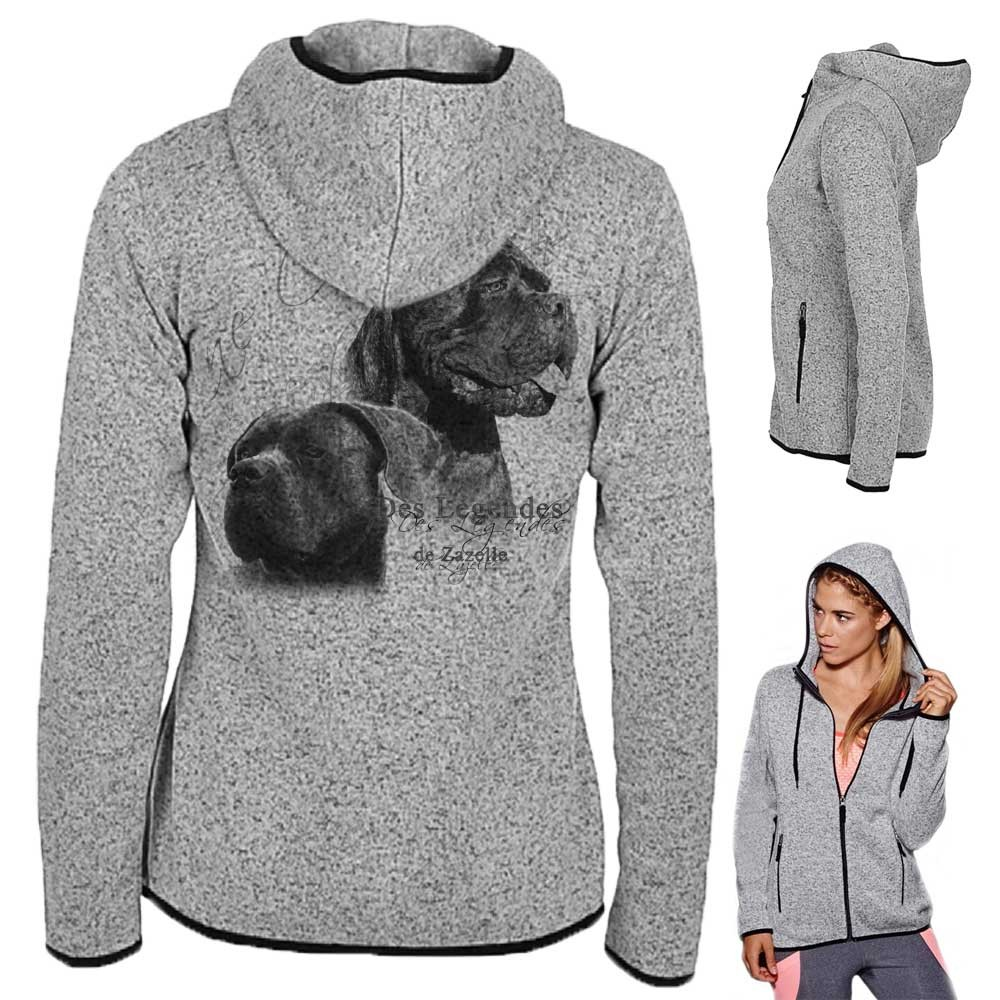 veste sweatshirt avec manche et capuche en tricot polyester personnalisable avec une race de chien