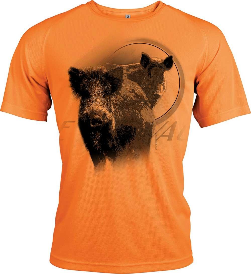 T-shirt orange fluo avec un sanglier
