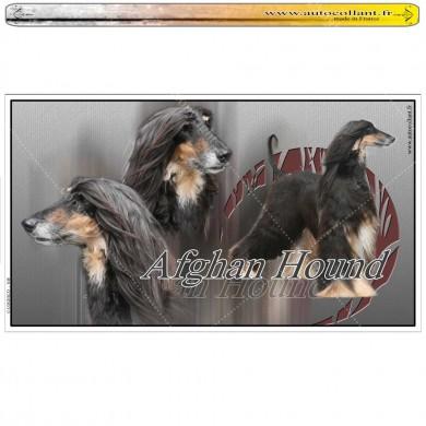 Stickers autocollant afghan hound noir et feu