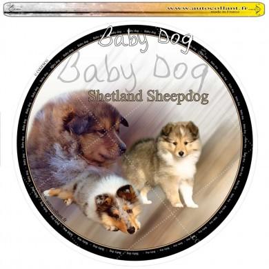 Autocollant  shetland sheepdog baby dog  circulaire