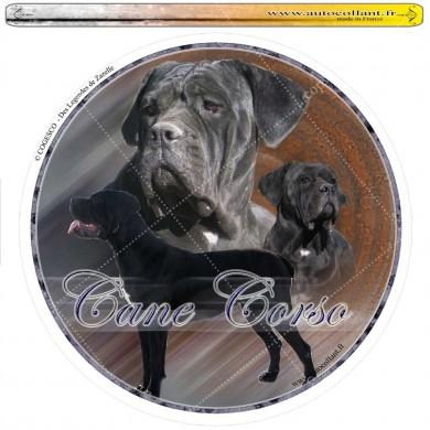 Autocollant cane corso femelle circulaire