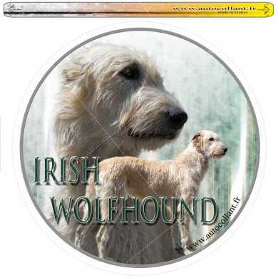 Autocollant irish wolfhound froment circulaire