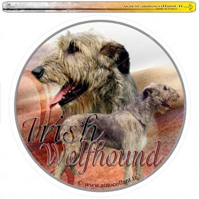 Autocollant irish wolfhound circulaire