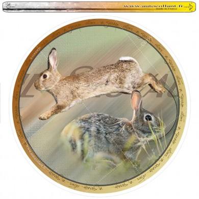 Autocollant lapin de garenne circulaire