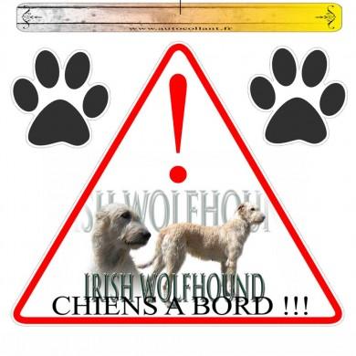 Autocollant voiture irish wolfhound froment en triangle