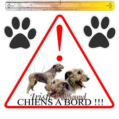 Autocollant voiture irish wolfhound en triangle