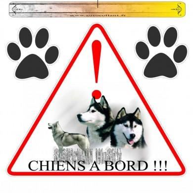 Autocollant voiture siberian husky oumiaks en triangle