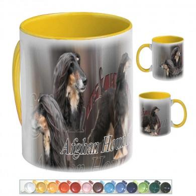 Mug Chien afghan hound noir et feu