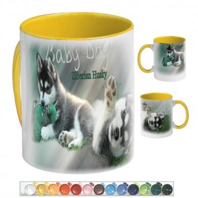 Mug Chien siberian husky baby dog