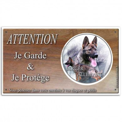 Pancarte attention au chien de Berger allemand gris