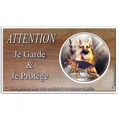 Panneau attention au chien berger allemand