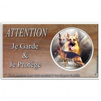 Panneau attention au chien berger allemand
