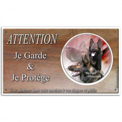 Pancarte attention au chien berger allemand travail