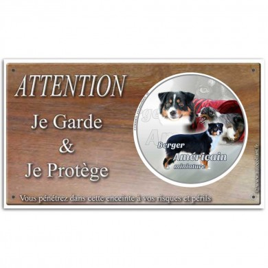 Plaque de garde Attention au Chien berger americain miniature