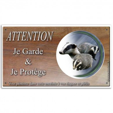 Plaque ou panneau de garde Attention au Gibier - blaireau