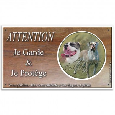 Plaque attention chien de garde bulldog américain