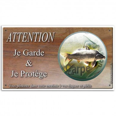 Plaque ou panneau de garde Attention au Poisson - carpe