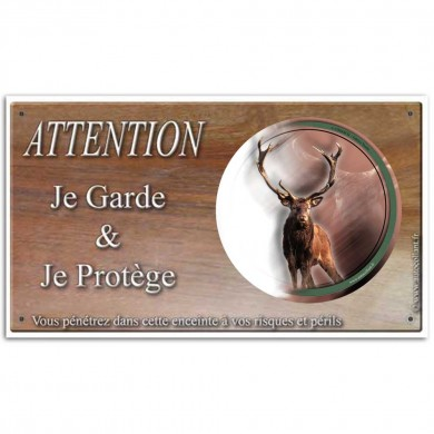 Plaque ou panneau de garde Attention au Gibier - cerf