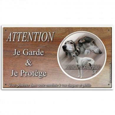Plaque ou panneau de garde Attention au Chien - chart polski poil long