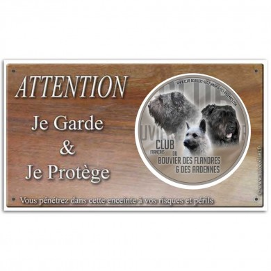 Plaque de garde Attention au Chien club bouvier des flandres