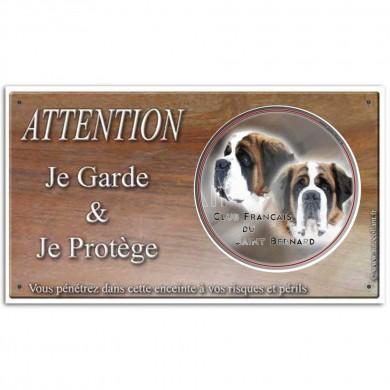 Plaque de garde Attention au Chien club du st bernard