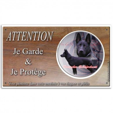 Plaque attention au chien de berger allemand noir