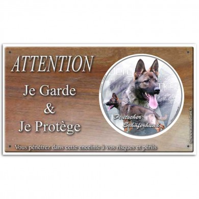 Attention chien, sur panneau de Berger allemand de Ring