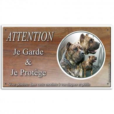 Pancarte attention au chien personnalisée avec dogue des canaries femelle