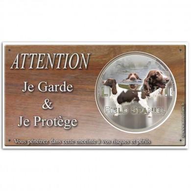 Plaque de garde Attention au Chien field spaniel chasse