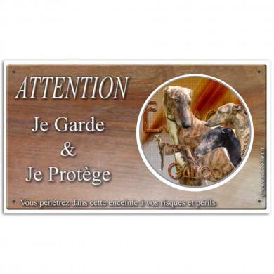 Plaque ou panneau de garde Attention au Chien - galgo espagnol