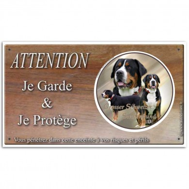 Plaque de garde Attention au Chien - grand bouvier suisse